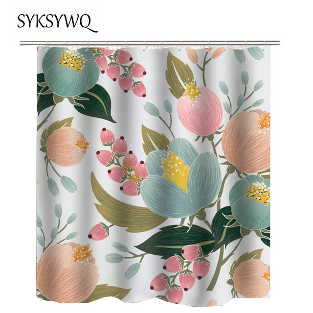 2018 New Arrival Flower Bathroom Curtain Pink Blue Waterproof Shower Floral Cortina Drop Shipping