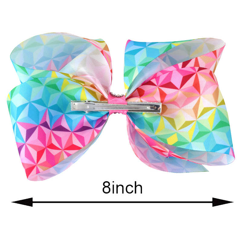 5PCS/lot 8 Inch Girls Cute Print Headwear Rhinestone Hair Bows Alligator Clips Women Children Festival Dress Hair Accessories