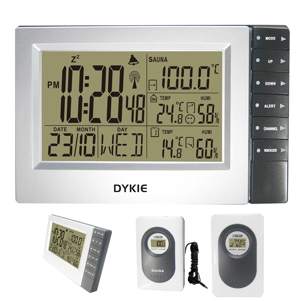 DYKIE Hot Selling RCC Weather Stations with Digital Alarm Clock Indoor Outdoor Thermometer Hygrometer Sauna Temperature