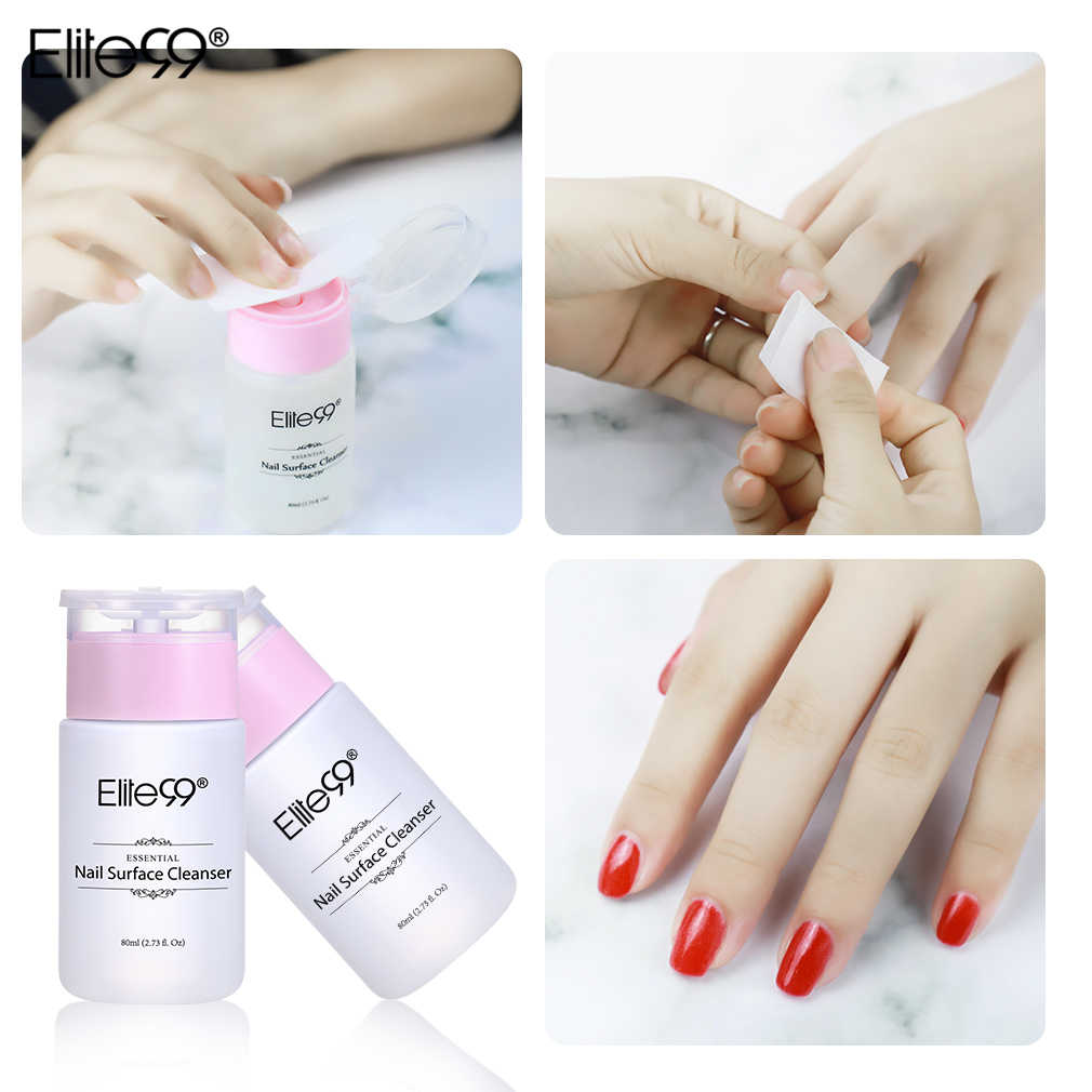 Elite99 New Pro Cleanser Plus Removes Excess Gel Enhance Shine Sticky Remover Nail Polish Gel Sticky Liquid with Removal Wraps