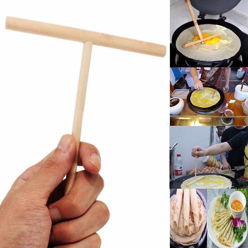 Net 1 Set Houten T Brief Keuken Tool Stick Strooier Crêpe Pannenkoek Beslag Conveniet Rack Strooier Home Kitchen Bar Benodigdheden