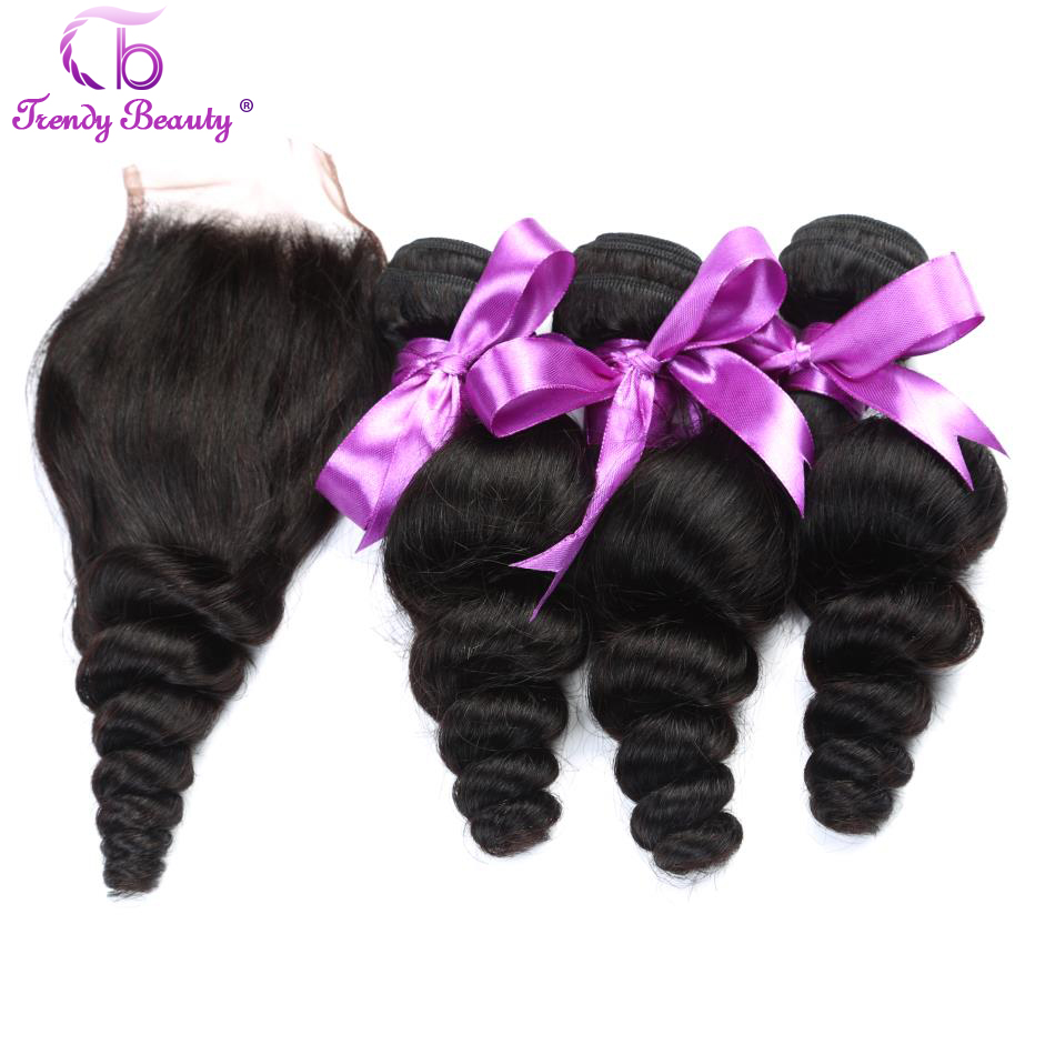 Trendy Beauty Malaysia Loose Wave With Closure Human Hair 3 Pcs Non Remy Bundles With Closure Middle/Free/Three Part Color 1B