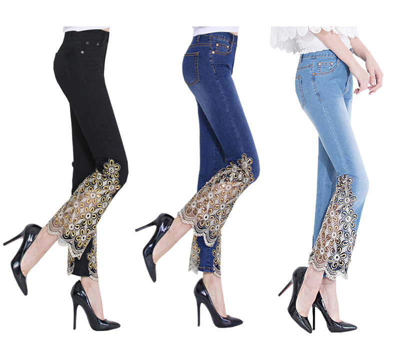 KSTUN Women Jeans Embroidered Flare Pants Sequined Summer Thin Stretch Bell Bottoms Black Blue Lace Designer Female Fashion 2018 11