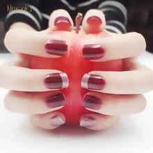24pcs Spring Glitter Fake Nail Art Design French Tips Red Short False Nails Acrylic Fashion DIY Manicure Supplies