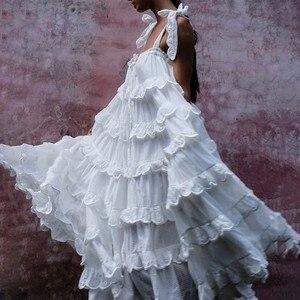Image 2 - CHICEVER Elegant Patchwork Ruffles White Dress For Women Off Shoulder Sleeveless Oversized  Dresses Female Fashion Clothes 2020
