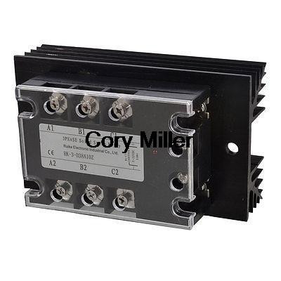 DC 5 32V to AC 380V 10A Three Phase SSR Solid State Relay w Black Heat Sink