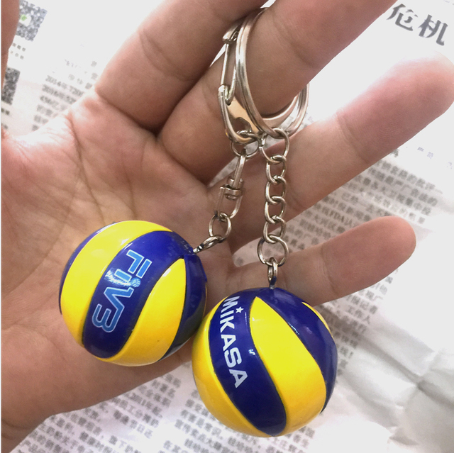 20pcs Sport Beach Volleyball PVC Keychain Key Chains Chain Ring Football Beach Ball Key Ring Gifts Men Jewelry Keyring Keychains