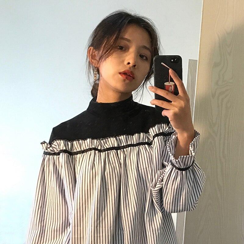Лидер продаж Для женщин кружева чешские рубашка длинный рукав лоскутное Цвет хлопок тонкий блузка женская одежда ...