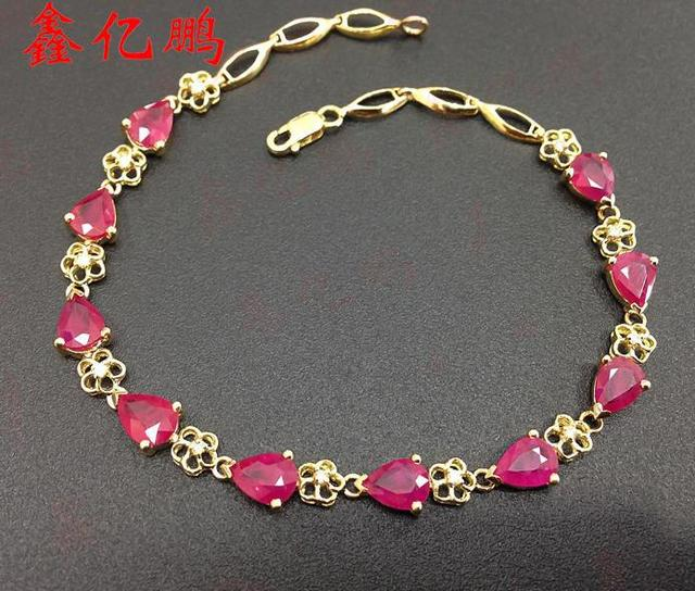 18 k gold with diamonds inlaid natural Burmese ruby bracelet female teardrop-shaped 5 x7mm fashion luxury and long