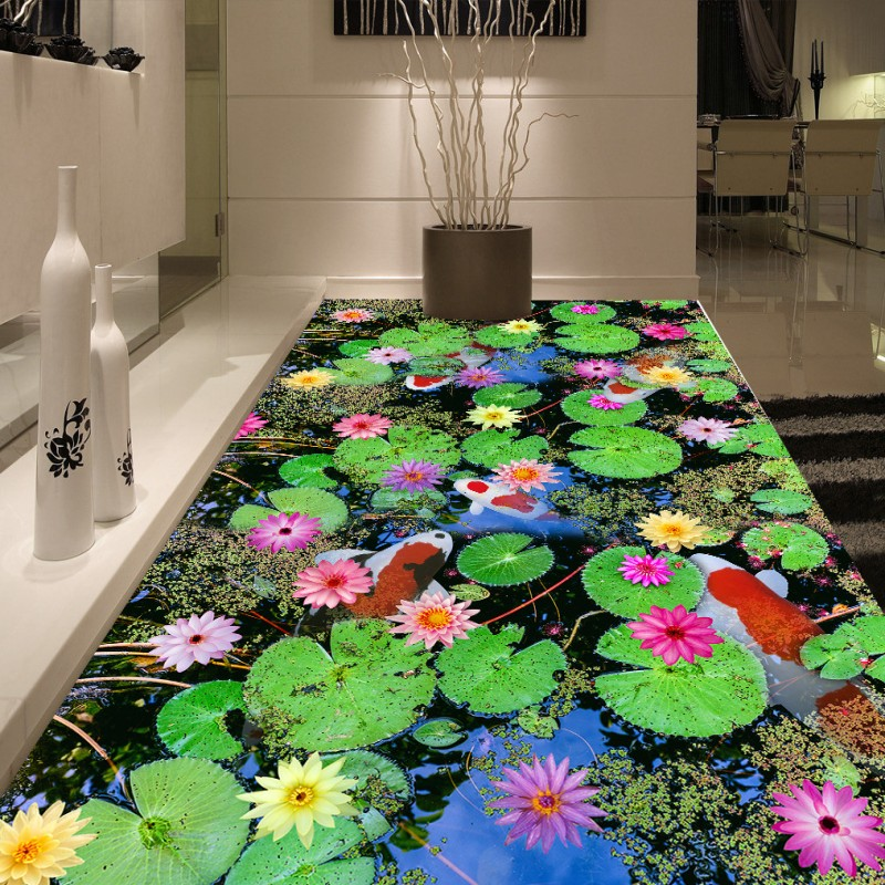 Free Shipping Pond carp lotus Chinese style 3d flooring non-slip waterproof thickened bathroom lobby living room flooring mural free shipping waterfall hawthorn carp 3d outdoor flooring non slip shopping mall living room bathroom lobby flooring mural