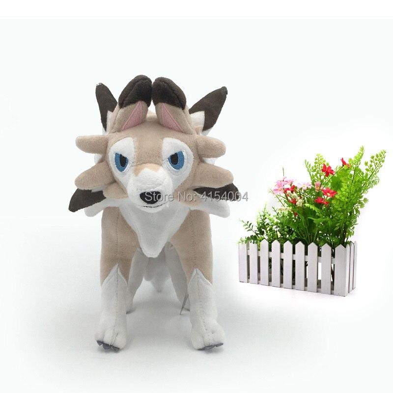 2 Styles Sun/Moon Alola Solgaleo Lunala Lycanroc Dusk & Lycanroc Daytime Plush Doll Soft Animal Dolls Retai Hot Toys 23 cm(China)