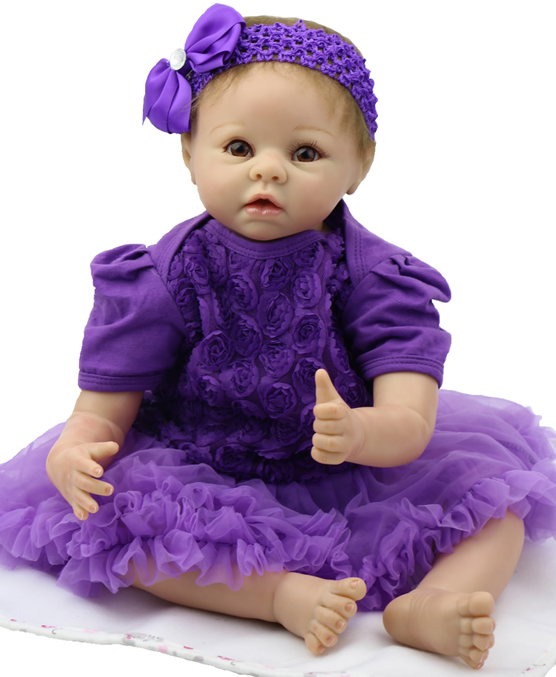 Reborn Baby Dolls 22/'/' Newborn Vinyl Silicone Girl Doll Handmade Purple Clothes