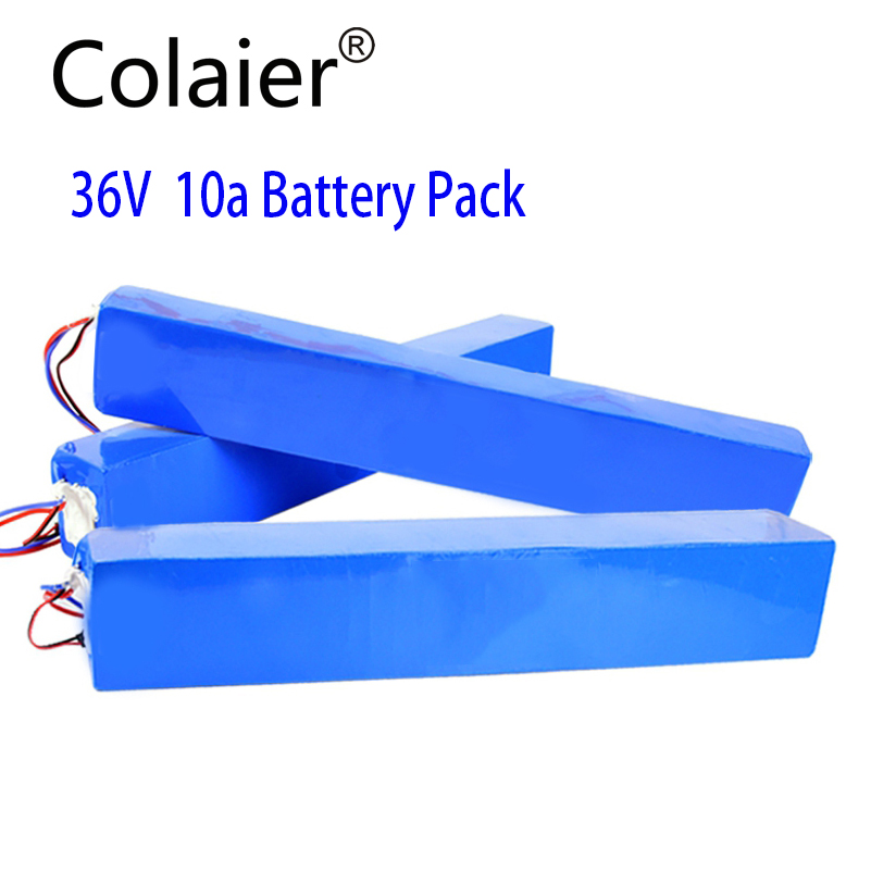 Colaier 36V 10Ah 42V 18650 Strip lithium ion battery pack with 20A BMS For ebike electric car bicycle motor scooter 600Watt