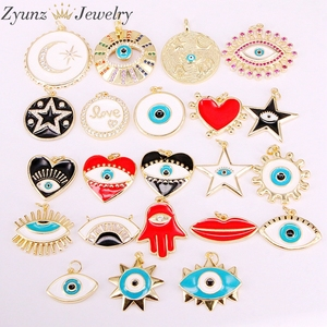 Image 1 - 30 pièces de pendentifs en émail, mélange aléatoire, perles oculaires en émail, rondes, étoiles, lèvres, mains, yeux, pour collier, découvertes pour bijoux