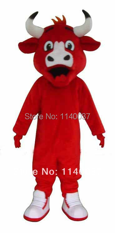 NO.1 MASCOT Adult Size Red Bull Mascot Costume Cartoon Character Bull Costume Cosply Carnival Costumes Fancy Dress