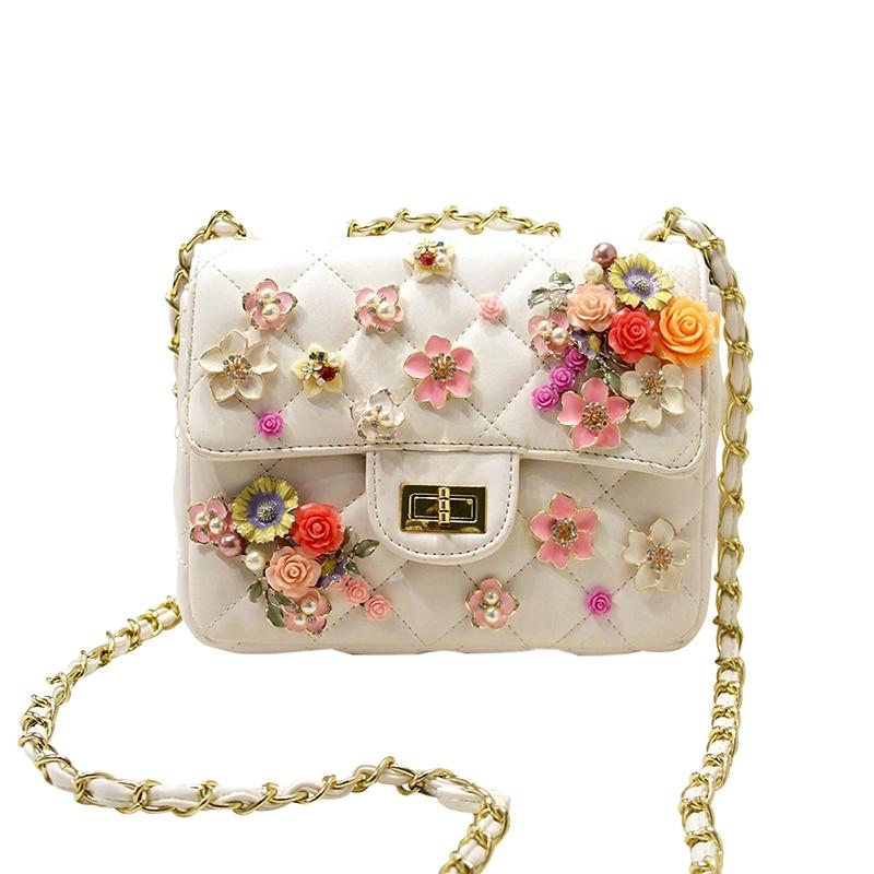 ФОТО 2017 brand design Pearl flowers diamond lock luxury women handbag women's evening bag clutch for party purse chain shoulder bag