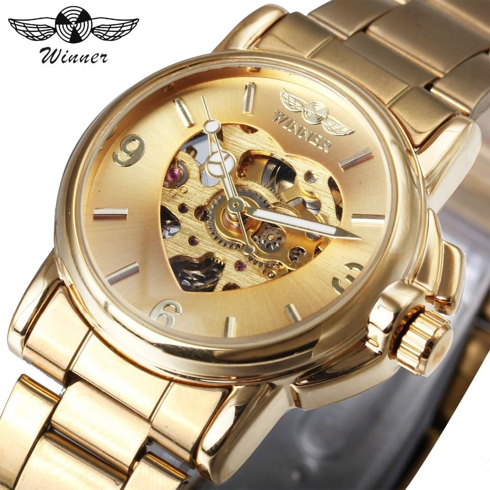 WINNER luxus nők automatikus mechanikus arany óra egyedi szíve ... c1fa85db09
