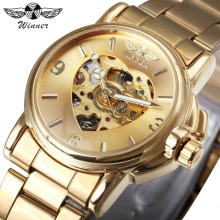 Winner高級女性自動機械式ゴールデンウォッチユニークなハートスケルトンウォッチダイヤルステンレススチールバンドt-ウィナー腕時計