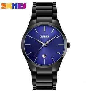 Image 4 - SKMEI luksusowe zegarki biznesowe męskie Ultra cienkie zegarki kwarcowe 5Bar wodoodporny minimalistyczny stal nierdzewna stalowy pasek Reloj Hombre