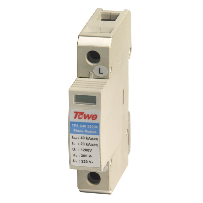 TOWE AP- C40 220DC 220 V Chase flow low-voltage DC power protection Imax:40KA,In:20KA,Up:1200v surge protective device towe ap c40 pv600 pv systems 600v dc system power class c protection 4 modulus imax 40ka up 2 2v thunder protector