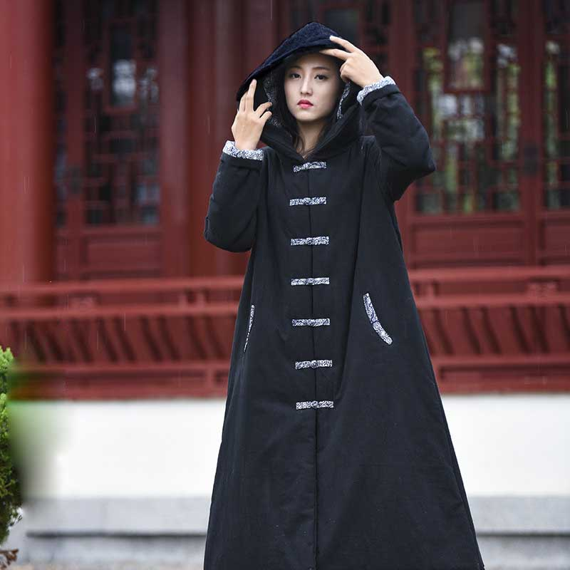 Oversized Trenchcoat Cotton Linen Capes Ponchos Women Winter Warm Coat Long Jacket Washed Wrinkled Cloth Vintage