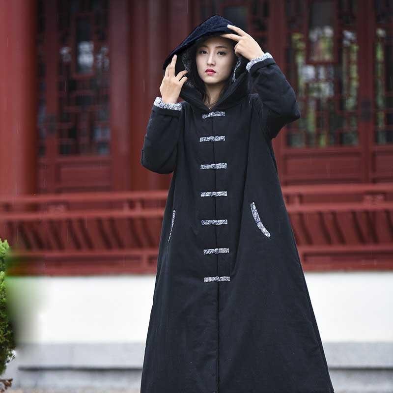 Gabardina de algodón de gran tamaño capas de lino Ponchos mujeres abrigo de invierno Chaqueta larga paño arrugado lavado Vintage traje de bruja-in Parkas from Ropa de mujer    1