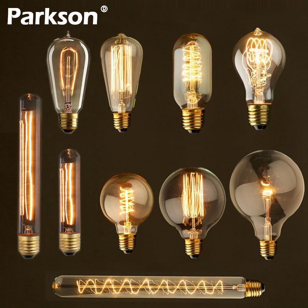 Retro Edison Bulb E27 220V 40W ST64 G80 G95 A60 T10 T45 T185 Ampoule Vintage Bulb edison Lamp Incandescent Filament Light Bulb edison bulb e27 incandescent retro lamp 40w 220v st64 a19 t45 t10 g80 g95 antique vintage bulb edison lamp filament light bulb