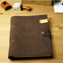 Hatimry genuine Leather jorunal button loose retro Note books Vintage styley head layer diary handma