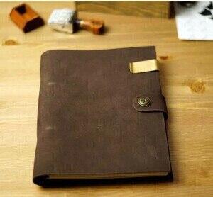 Hatimry genuine Leather jorunal button loose retro Note s