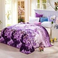 美容ユリ花毛布パープルソフト暖かいフリースフランネル毛布ホーム寝具シーツをスローしソファ毛布送料無料