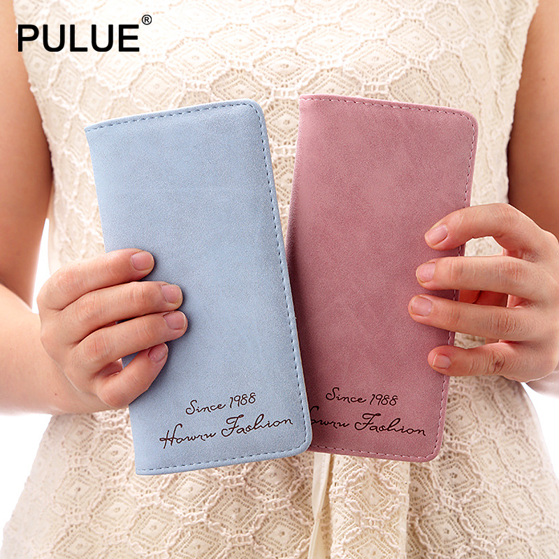 2019 New Fashion Women Wallets Scrub Matte Leather Long Wallet Card Holder More Color Clutch Business Minimalism Hasp Money Bags