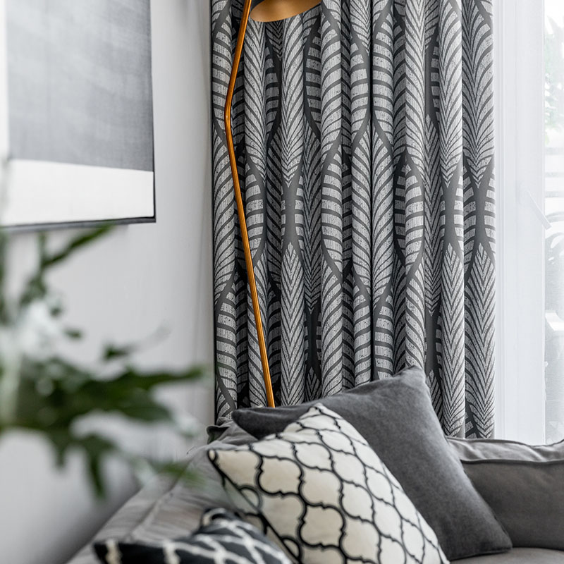 Modern Grey Geometric Blackout Indoor & Outdoor Curtains