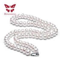Blanco de Agua Dulce Naturales Collar de Perlas Para Las Mujeres 8-9mm Collar de la Joyería de Los Granos 40 cm/45 cm/50 cm Longitud de Joyería de Moda Collar