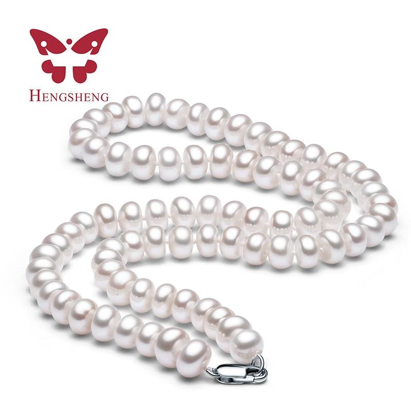 Hvit Naturlig Ferskvann Perle Halskjede For Kvinner 8-9mm Halskjede - Mote smykker - Bilde 1