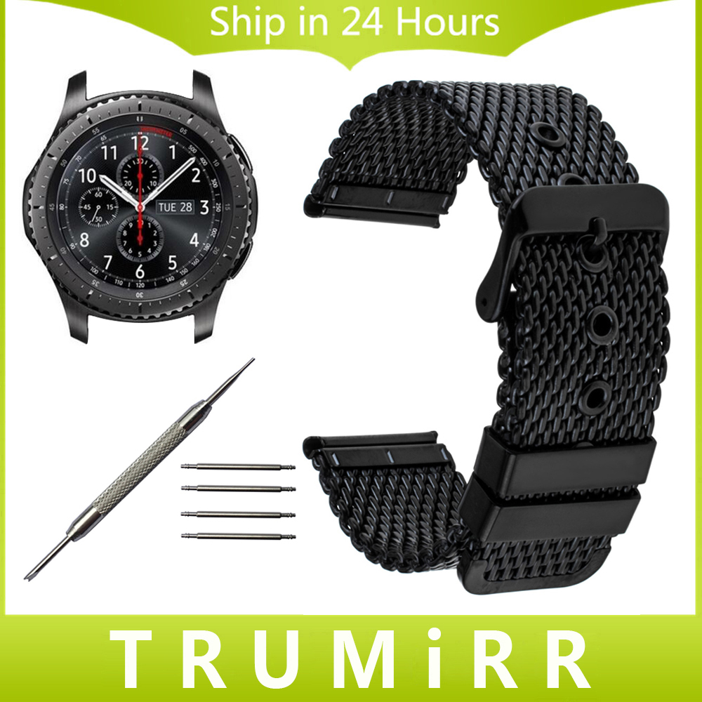 22mm Milanese Watch Band + Tool for Samsung Gear S3 Classic Frontier Garmin Fenix Chronos Stainless Steel Strap Wrist Bracelet garmin fenix chronos steel