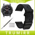 22mm faixa de relógio milanese + ferramenta para samsung gear s3 clássico Fronteira Malha Cinta de Aço Inoxidável Correia de Pulso Pulseira Preta prata