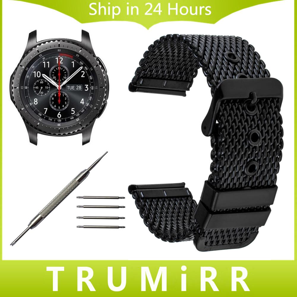 Prix pour 22mm milanese montre bande + outil pour samsung gear s3 classique frontière garmin fenix chronos bracelet en acier inoxydable bracelet