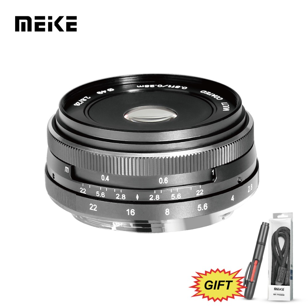 MEKE Meike MK-E-28-2.8 28mm f/2.8 Fixed Manual Focus Lens for Sony E mount A6500/A6300/A6000/A5100/A5000/NEX7 Mirrorless Camera original lcd 3 inch camera tempered glass screen protector for sony a5100 a6000 a5000 a6500 a6300 hd toughened protective film