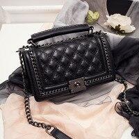 S P L Hot Sale Fashion Weave Chain Design Shoulder Bag Women Leather Crossbody Bag Black