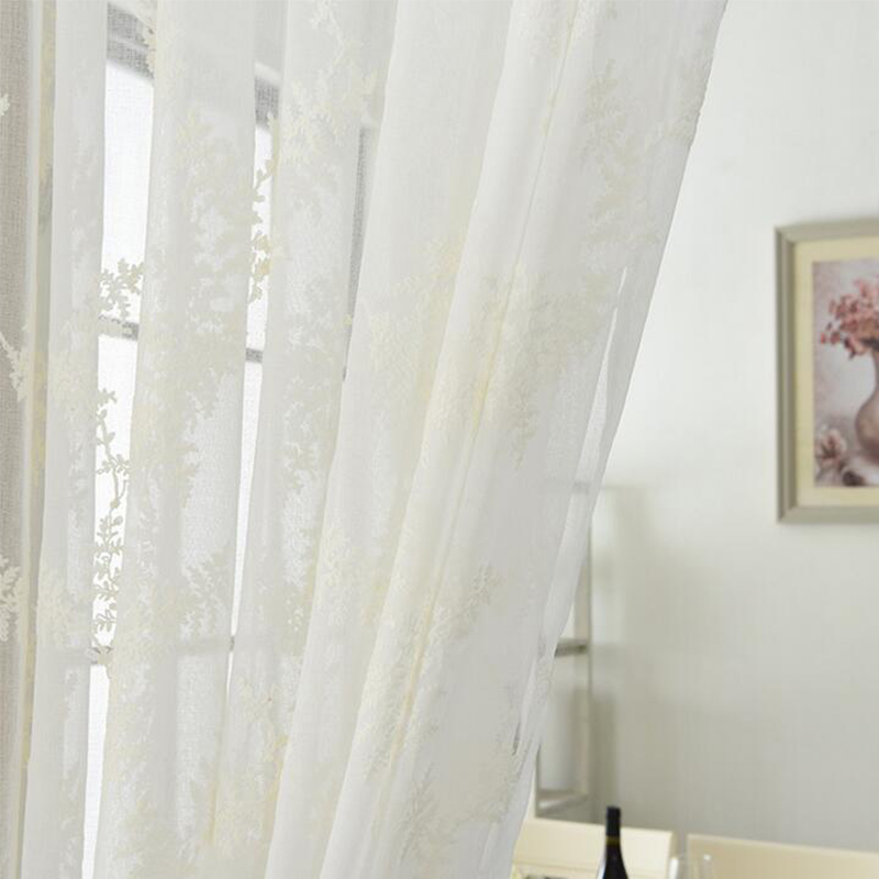 Simple Home Diy Fabrics Cotton 280x100cm White Flower Embroidered Sheer Tulle Curtains Fabric For Kitchen Living Room New In From Garden On