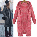 Hot Sale New 2016 Autumn Winter Women Coat Long Hooded Plus Size Knitting Cardigan Casual Lady Sweater Free Shipping ZL2004