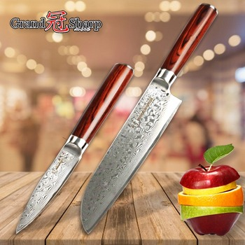 Kitchen Knife Set 2 pcs Damascus Japanese Stainless Steel VG10 Santoku Paring Knives Sushi Fruits Cutting Cleaver Vegetable NEW