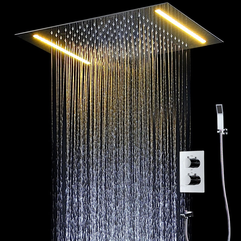 New Arrival 360*500MM SUS Big Rain shower set LED bath shower faucet ceiling mounted thermostatic shower mixer with embeded box