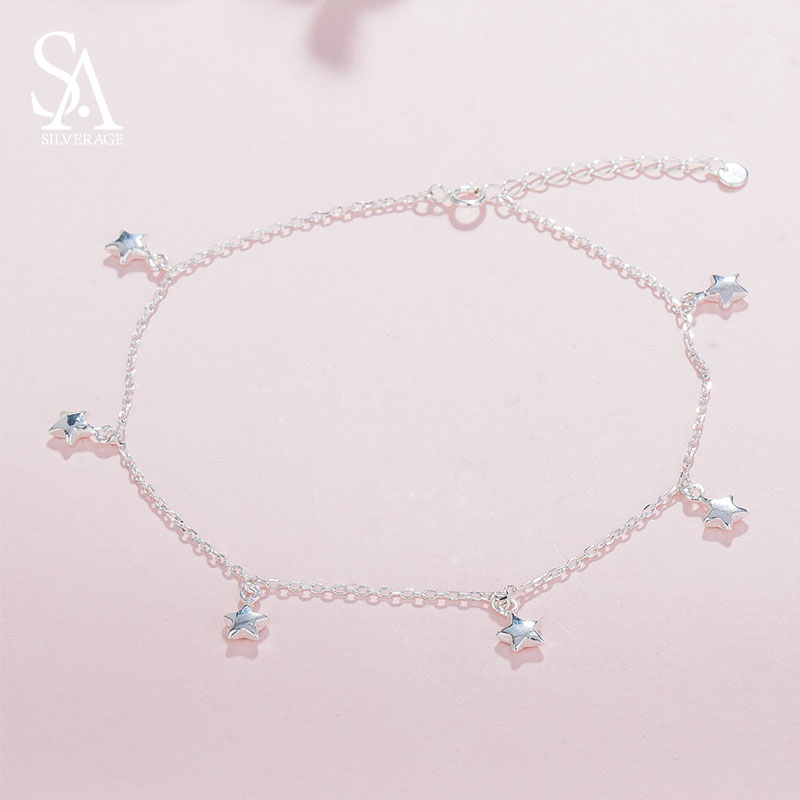 100% 925 Sterling Silver Beautiful Anklets for Women Blue Star Anklets Fine Jewelry Party Wedding Girlfriend Gift