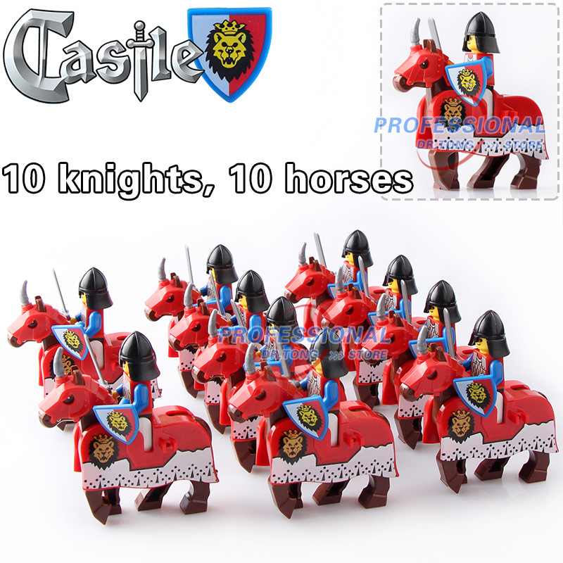 DR.TONG 20pcs/Lot Red War Horse Cattle King Kingdom Medieval Castle Knights with Weapons Heavy Armor Building Blocks Diy Toys