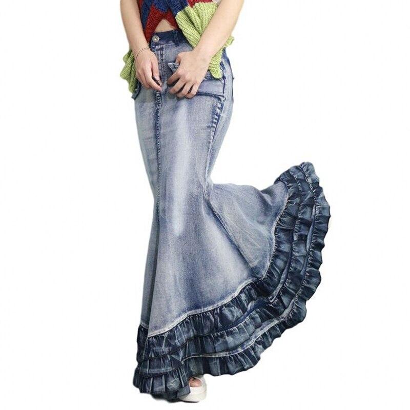 Vintage Big Fish Tail Denim Skirt Women Floor-Length Maxi Long Skirt Mermaid Trumpet Empire High Waist Jeans Stretchy J92793