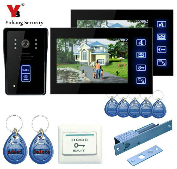 YobangSecurity Touch Key 7Inch Video Door Phone Doorbell Intercom Entry System With RFID Keyfobs,Electronic Lock,Exit Switch yobangsecurity 7 inch video door phone intercom doorbell home entry intercom system kit 1 monitors 1 camera with rfid id keyfobs