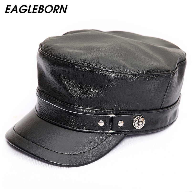 Genuine Leather Military Hats Unisex Dad Caps Black Gorras Planas With Earflaps Winter Hats For Men Women Leather Snapback