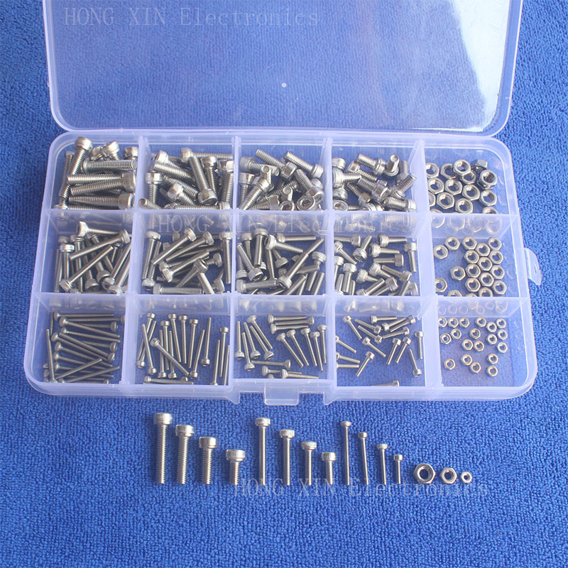300Pcs M2/M3/M4 Cap Head Thread Stainless Steel Hex Socket screw nuts PCB machine Bolt Assortment kit set Fastener Hardware 340pcs stainless steel m3 a2 hex screw kit assortment nuts bolt cap socket set 125x65x22mm with case