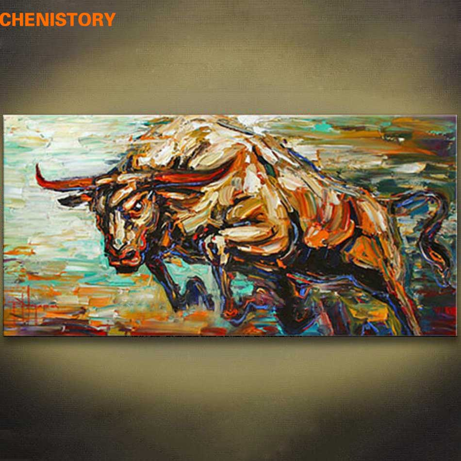 Unframed Bull Animals Abstract Hand Painted Oil Painting